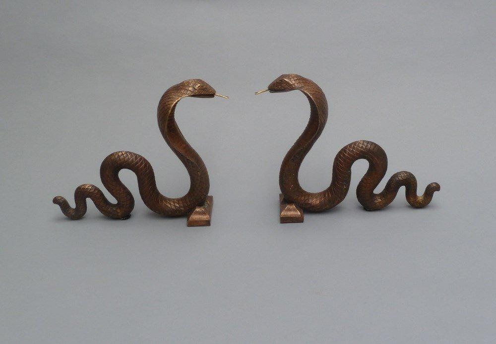 Edgar BRANDT (1880-1960)  Serpent andirons , circa 1925