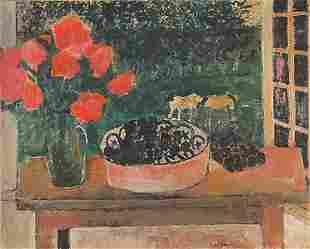 André BRASILIER (Né en 1929) Nature morte à la fenêtre