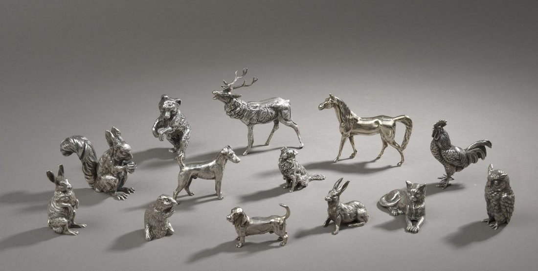 13 miniatures animalières en argent