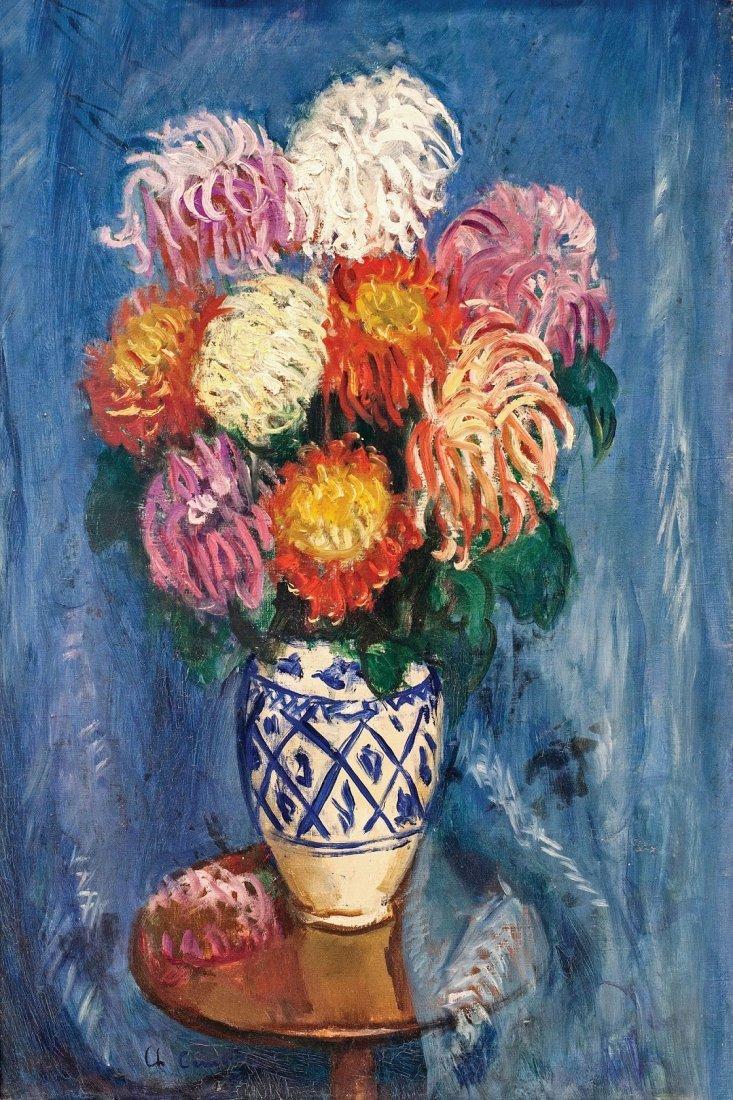 Charles CAMOIN (1879-1965)  Bouquet de dahlias sur fond