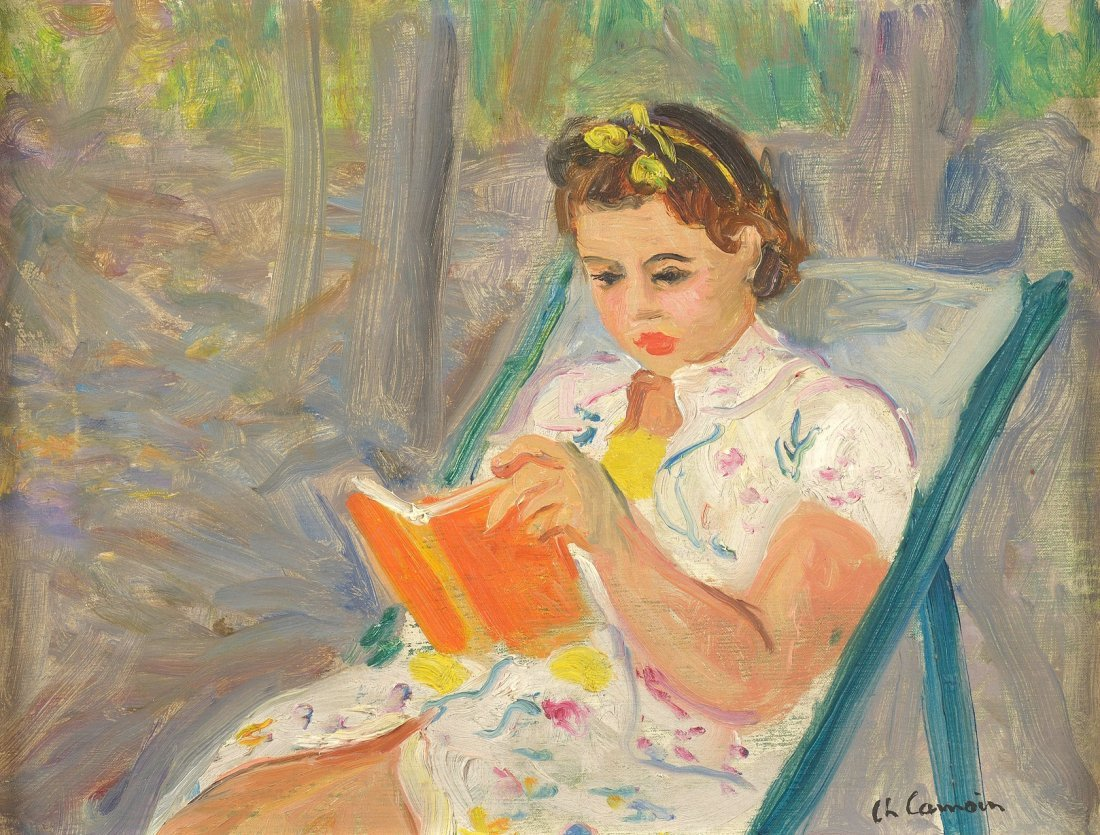 Charles CAMOIN (1879-1965 )  Jeune fille lisant  Huile