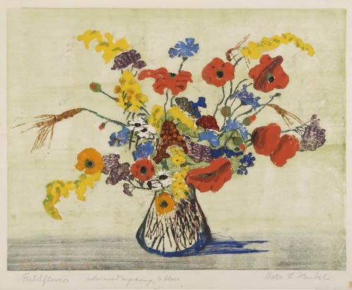 2012017: AMERICAN PRINTMAKERS Group of 4 floral color p
