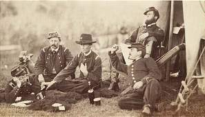 2017026: (CIVIL WAR) Portrait of 5 soldiers drinking, s