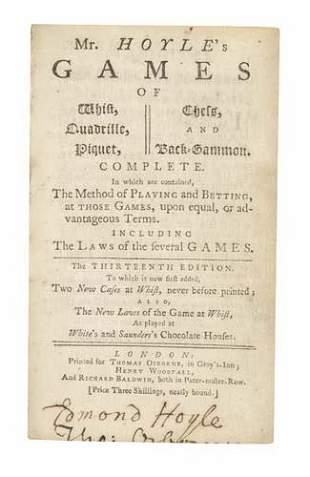 HOYLE, EDMOND. Mr. Hoyle's Games of Whist, Qua