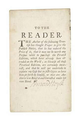 HOYLE, EDMOND. A Short Treatise on the Game of