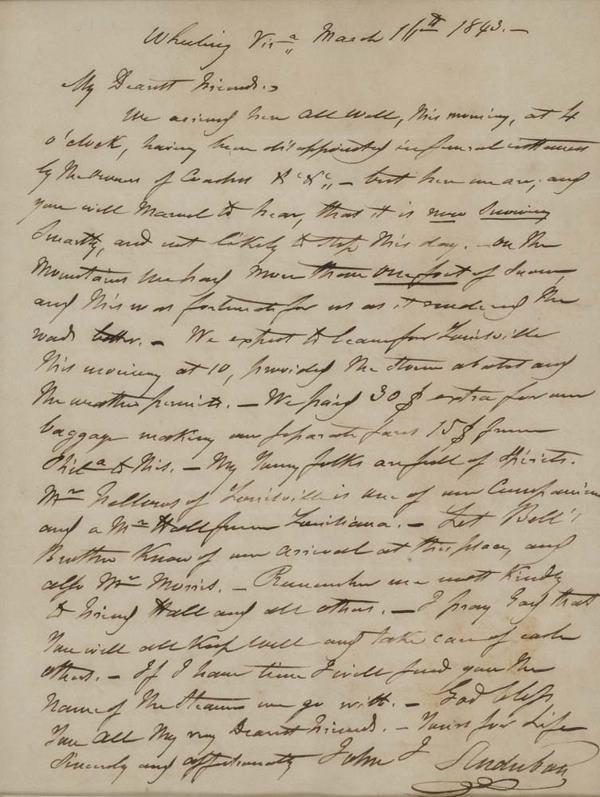 2021024: AUDUBON, JOHN JAMES. Autograph Letter Signed,