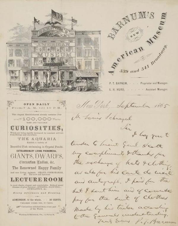 2021030: BARNUM, P. T. Autograph Letter Signed,
