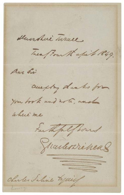 2021279: DICKENS, CHARLES. Brief Autograph Letter Signe