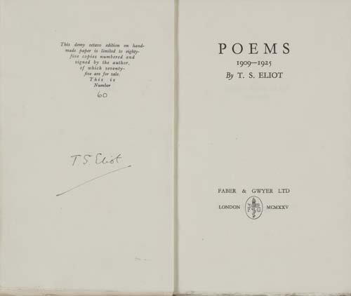 2022077: ELIOT, T. S. Poems 1909-1925.