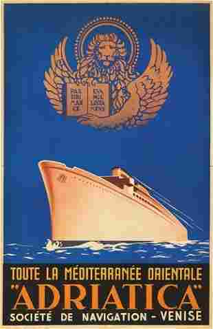 """Poster ANONYMOUS """"ADRIATICA."""" 1938. 39x25 inch"""