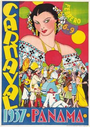 Poster ANONYMOUS. CARNAVAL PANAMA. 1937. 26x18
