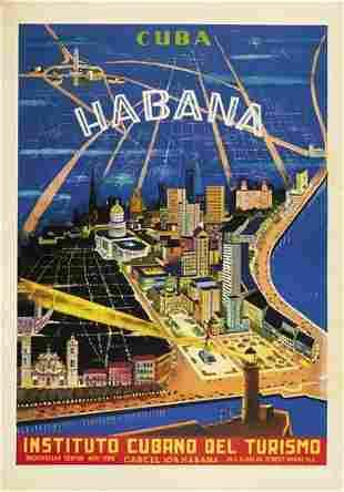 Poster ANONYMOUS. CUBA / HABANA. Circa 1950. 3