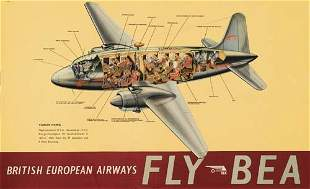 Poster ANONYMOUS. FLY BEA / VICKERS VIKING. 24