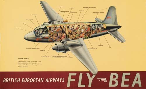 2023013: Poster ANONYMOUS. FLY BEA / VICKERS VIKING. 24