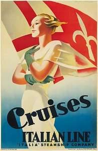 2023071: Poster MARCELLO DUDOVICH CRUISES ITALIAN LINE.