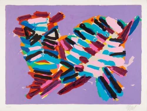 2024010: KAREL APPEL Three color lithographs.