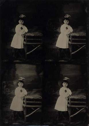 (TINTYPE) Uncut whole-plate with 4 views of a