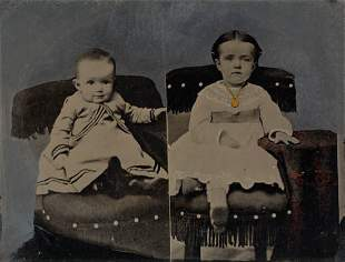 (TINTYPES) Haunting group of 8 hand-painted wh