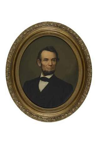 (LINCOLN, ABRAHAM) Large oval portrait of the