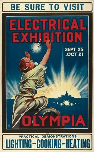 2028009: Posters OLYMPIA ELECTRICAL EXHIBITION. 39x24 i