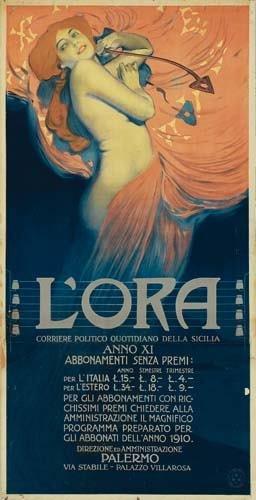 2028010: Posters L'ORA. 1910. 80x41 inches. G. Ricordi,