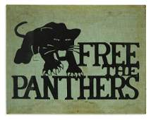 (BLACK PANTHERS.) Free the Panthers textile print.