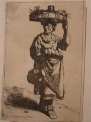 CORNELIS BEGA A Woman Carrying a Basket.