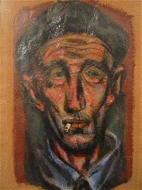 2029184: JOSEPH HIRSCH Head of a Man Smoking.