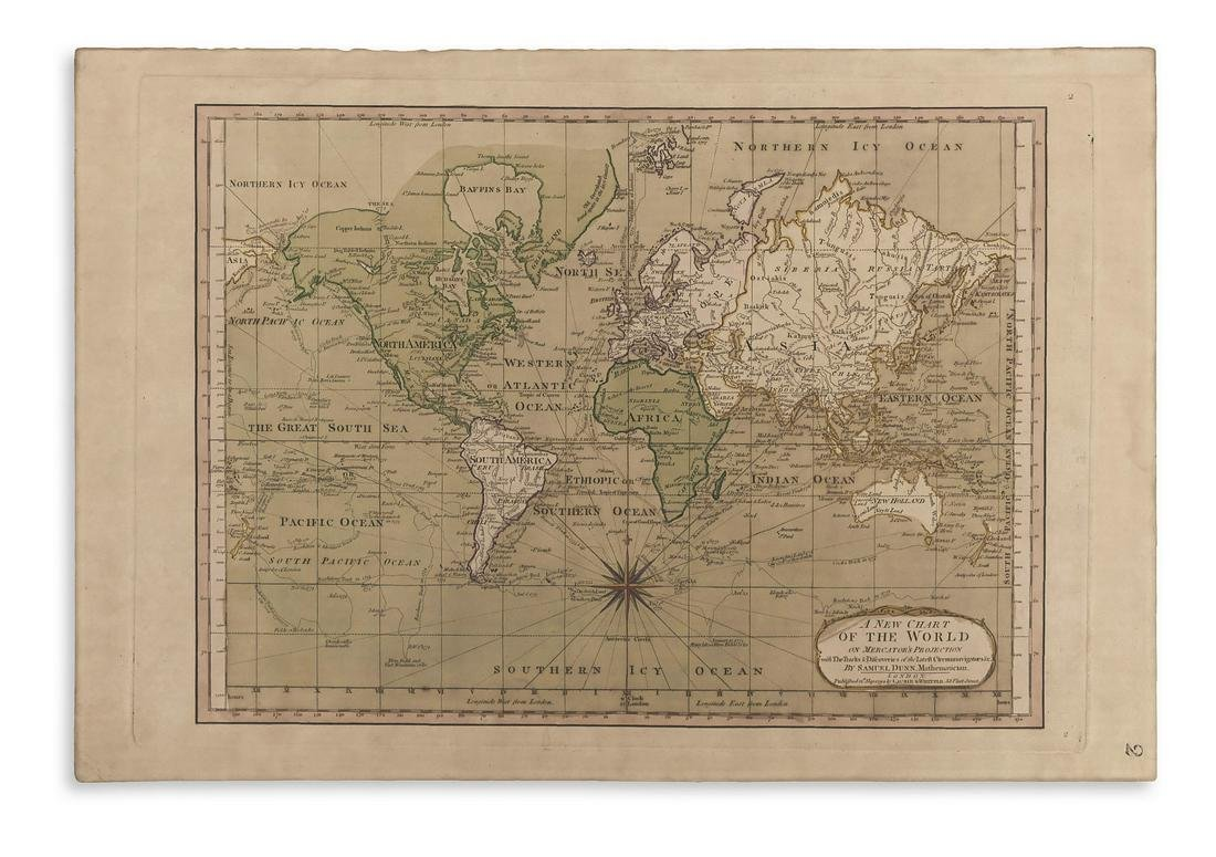 DUNN, SAMUEL. A New Chart of the World on Mercator's