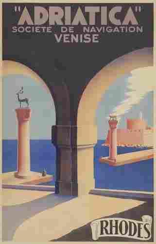 """POSTER. """"ADRIATICA"""" / RHODES. 1938. 39x25 inch"""