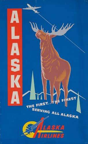 POSTER. ALASKA AIRLINES. Two posters. Each app