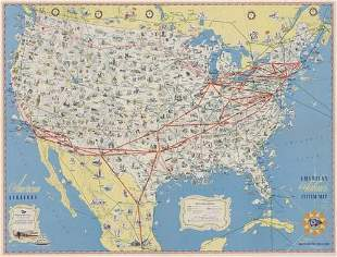 POSTER. AMERICAN AIRLINES SYSTEM MAP. 24x32 in