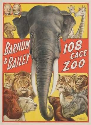 POSTER. BARNUM & BAILEY. 39x28 inches. Strobri
