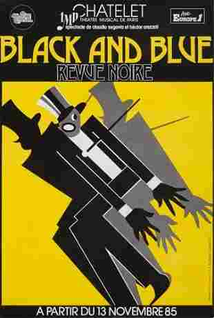 POSTER. BLACK AND BLUE. 1985. 58x39 inches.