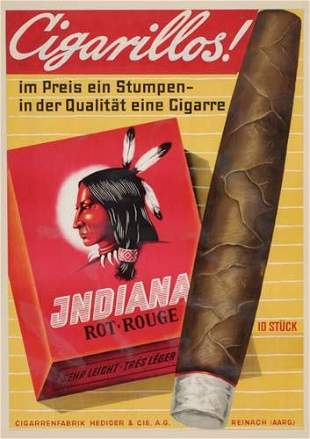 POSTER. CIGARILLOS INDIANA. 49x34 inches.