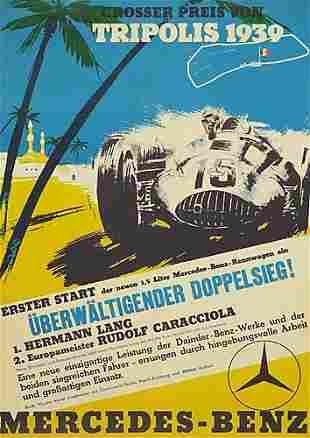 POSTER. GROSSER PREIS VON TRIPOLIS. 1939. 27x