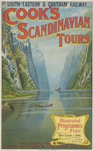 POSTER. COOK'S SCANDINAVIAN TOURS. 39x24 inche