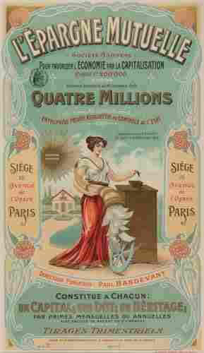 POSTER. L'EPARGNE MUTUELLE. 1909. 21x12 inches