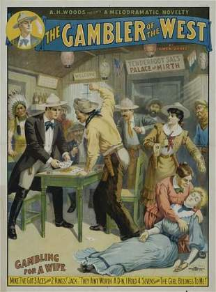 POSTER. THE GAMBLER OF THE WEST. 1906. 38x28 i