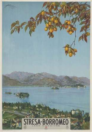 POSTER. ARAZZA STRESA-BORROME. 1927. 39x27 inc