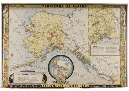 POSTER. ARAZZA. TERRITORY OF ALASKA. 1936. 20x
