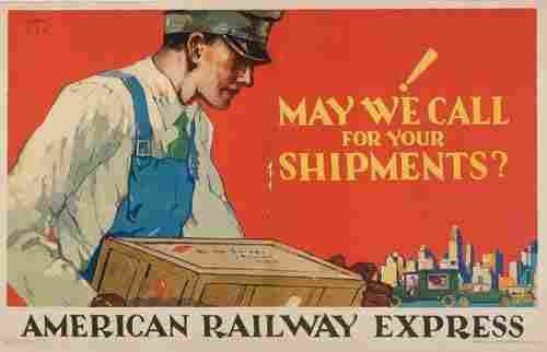 POSTER. ROBERT E. LEE AMERICAN RAILWAY EXPRESS