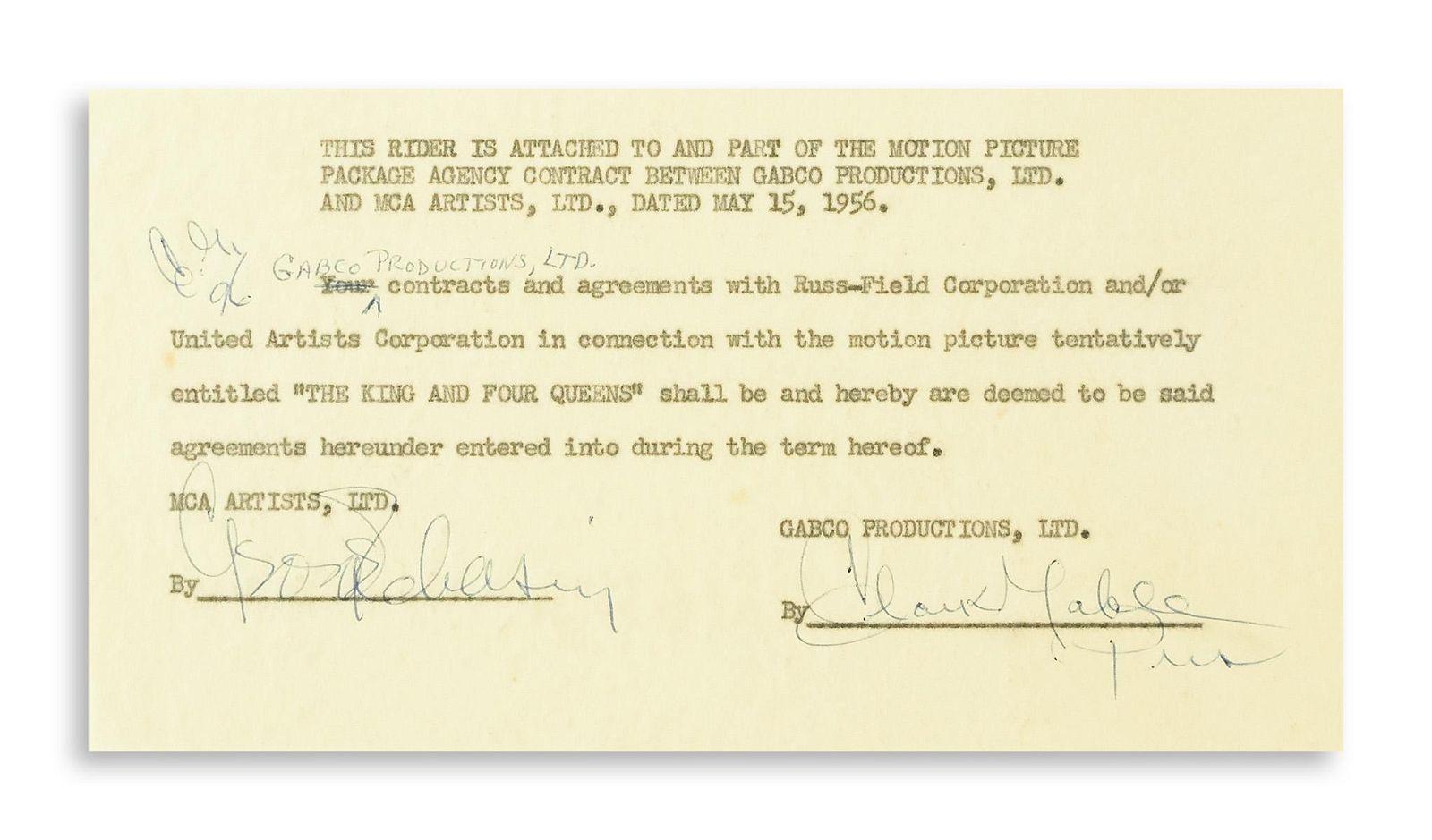 """GABLE, CLARK. Typed Document Signed, """"Clark Gable /"""