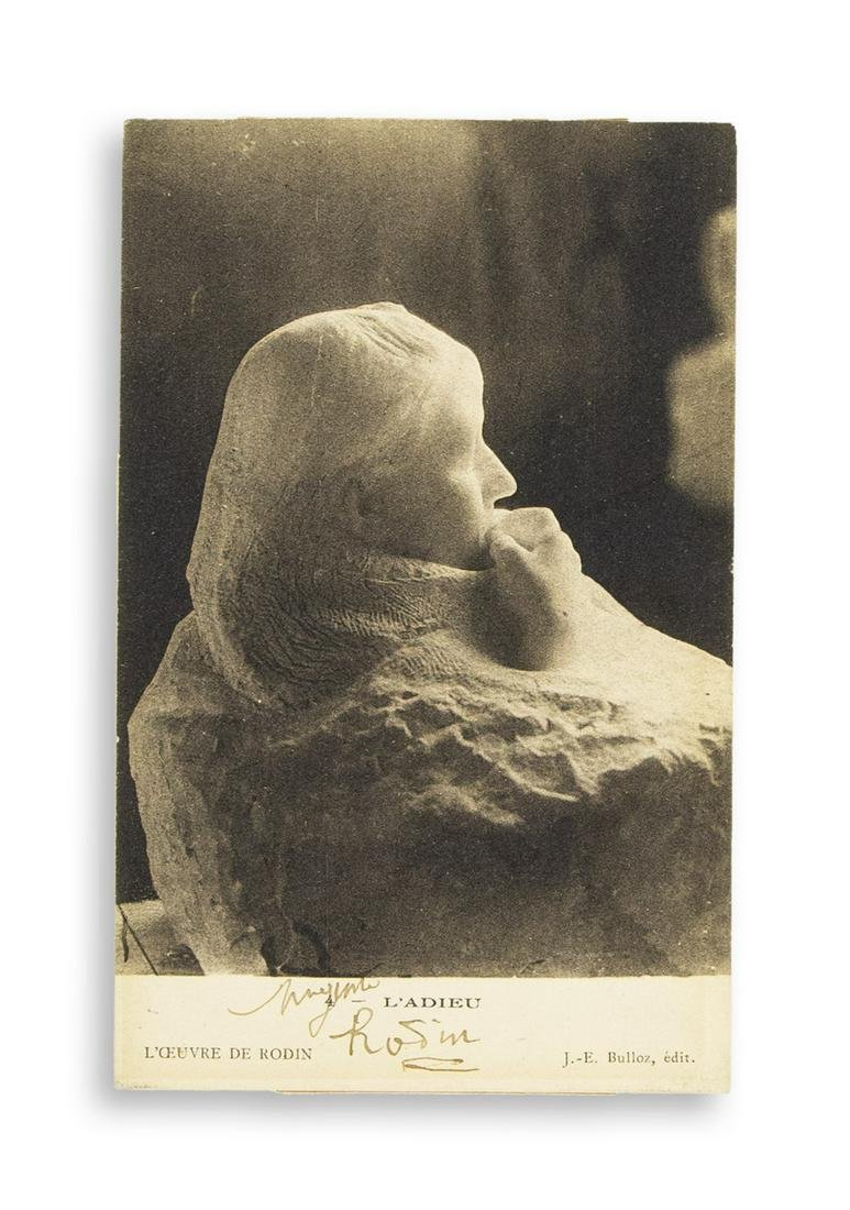 RODIN, AUGUSTE. Photograph postcard Signed, in full,
