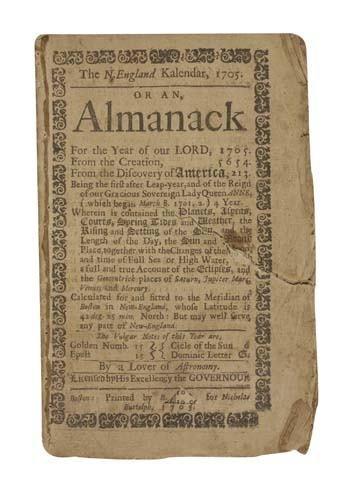 2032004: (ALMANAC.) The N. England Kalendar, 1705. Or a