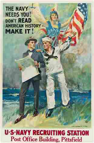 JAMES MONTGOMERY FLAGG (1870-1960). THE NAVY NEEDS YOU!