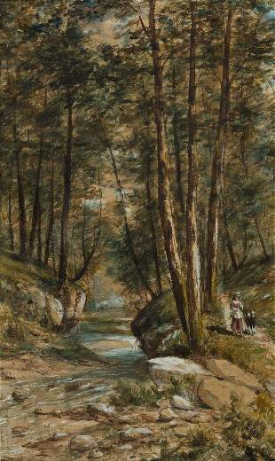 JEROME B. THOMPSON A Forest Scene with a Shepherdess on