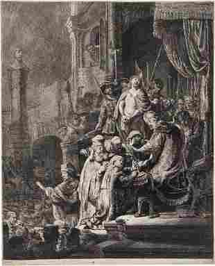 REMBRANDT VAN RIJN Christ before Pilate: Large Plate.