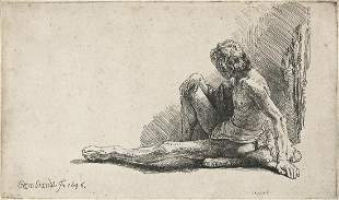 REMBRANDT VAN RIJN Nude Man Seated on the Ground with