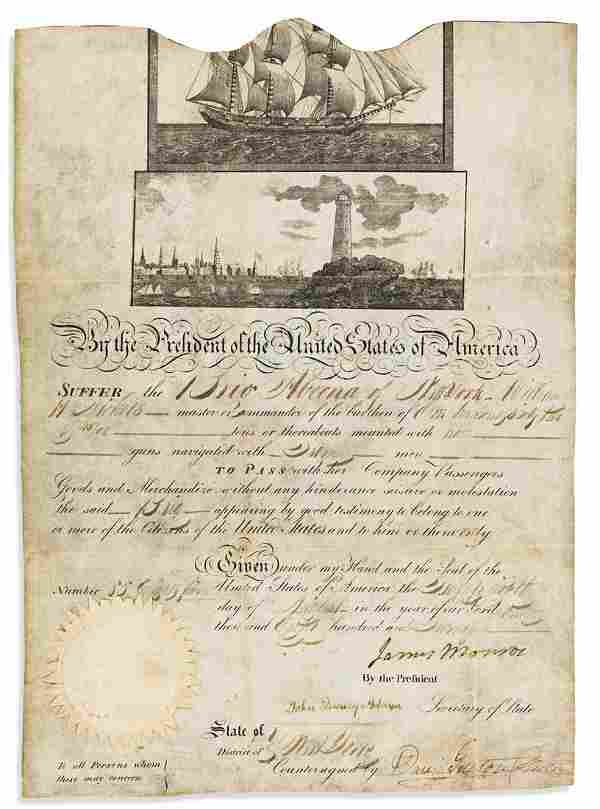 MONROE, JAMES. Partly-printed vellum Document Signed,